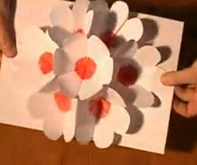 Lavoretti biglietto pop up con fiori in 3d iocreo for Fiori di cartoncino